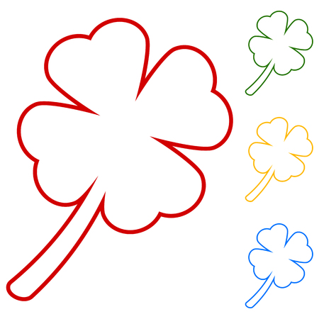 red clover: Leaf clover. Saint patrick symbol. Ecology concept. Set of line icons. Red, green, yellow and blue on white background.