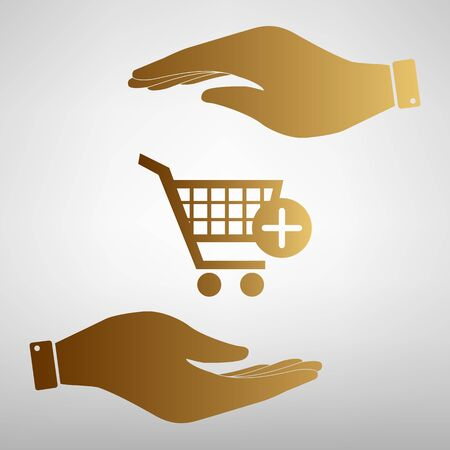 shoppingcart: Shopping Cart and add Mark Icon. Save or protect symbol by hands. Golden Effect.