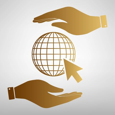 protect globe: Earth Globe with coursor. Save or protect symbol by hands. Golden Effect.