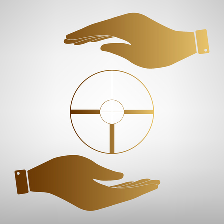 crosshair: Crosshair Target  sign. Save or protect symbol by hands. Golden Effect.