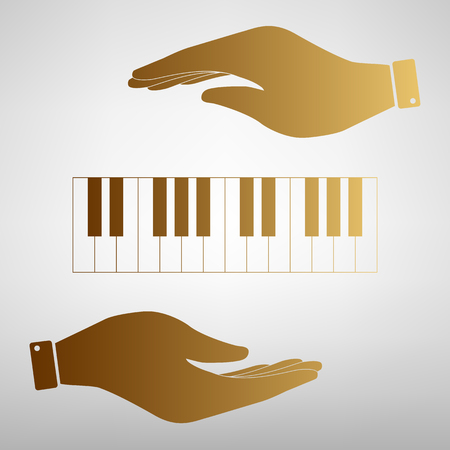 acoustically: Piano Keyboard  sign. Save or protect symbol by hands. Golden Effect.