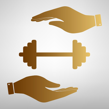 heavy load: Dumbbell weights sign. Save or protect symbol by hands. Golden Effect.