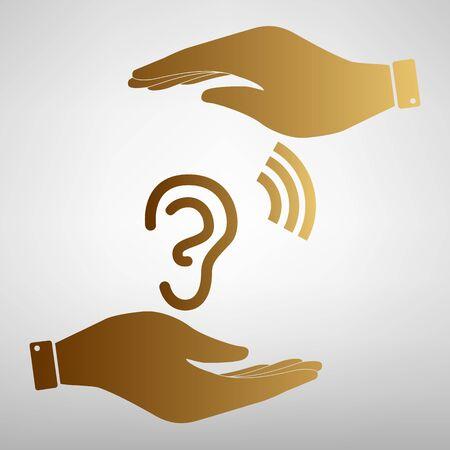 signo oído humano. Salvar o proteger el símbolo de las manos. Efecto de oro.