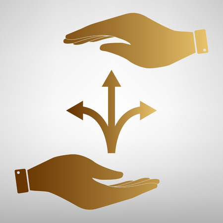 opportunity sign: Three-way direction arrow sign. Save or protect symbol by hands. Golden Effect. Illustration