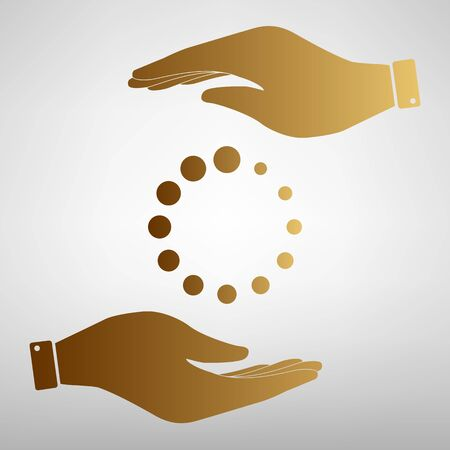 pre loader: Circular loading sign. Save or protect symbol by hands. Golden Effect.
