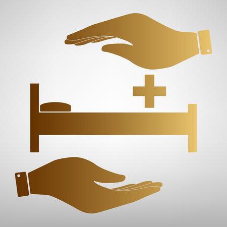 surgery stretcher: Hospital sign. Save or protect symbol by hands. Golden Effect. Illustration