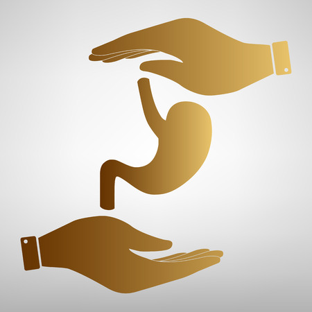 Human anatomy. Stomach sign. Save or protect symbol by hands. Golden Effect.