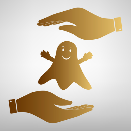 black shadow: Ghost isolated sign. Flat style icon vector illustration.