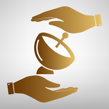 transmitting: Satellite dish sign. Save or protect symbol by hands. Golden Effect.