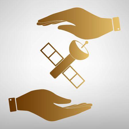transponder: Satellite sign. Flat style icon vector illustration. Illustration