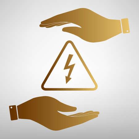 high voltage symbol: High voltage danger sign. Save or protect symbol by hands. Golden Effect.