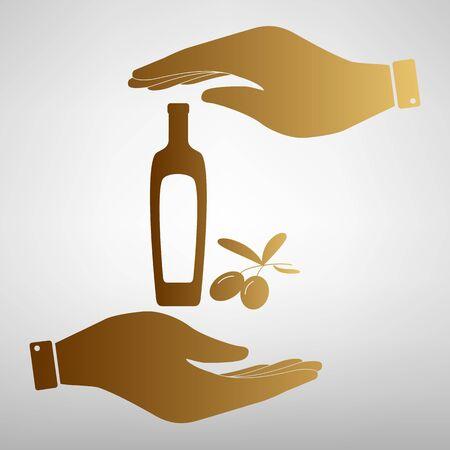 salad dressing: Black olives branch with olive oil bottle sign. Save or protect symbol by hands. Golden Effect.