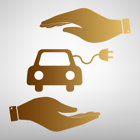 automobile industry: Eco electrocar sign. Save or protect symbol by hands. Golden Effect. Illustration