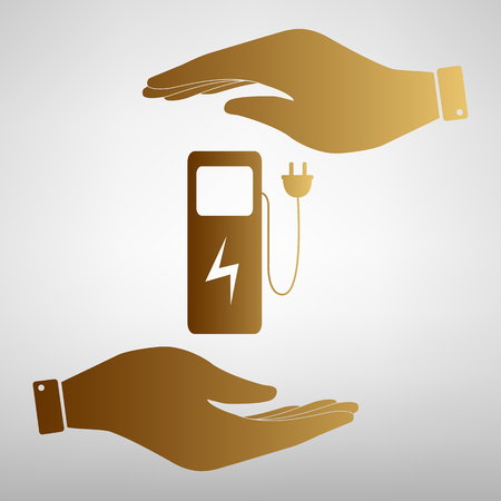 zero emission: Electric car charging station sign. Save or protect symbol by hands. Golden Effect.