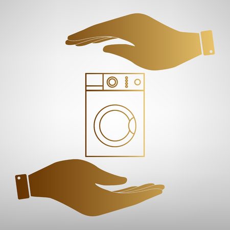 major household appliance: Washing machine sign. Save or protect symbol by hands. Golden Effect.