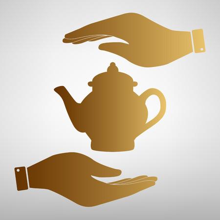 sign maker: Tea maker sign. Save or protect symbol by hands. Golden Effect. Illustration