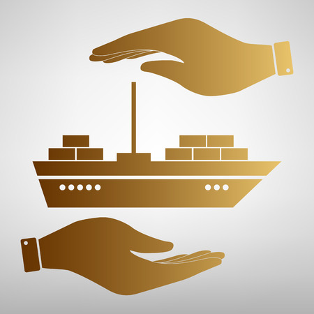 sea tanker ship: Ship sign. Save or protect symbol by hands. Golden Effect.