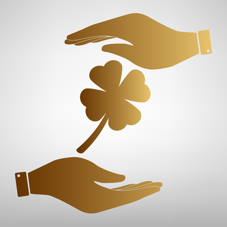 Leaf clover sign. Save or protect symbol by hands. Golden Effect. Stock Illustratie