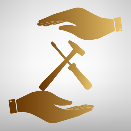 tuning turn screw: Tools sign. Flat style icon vector illustration.