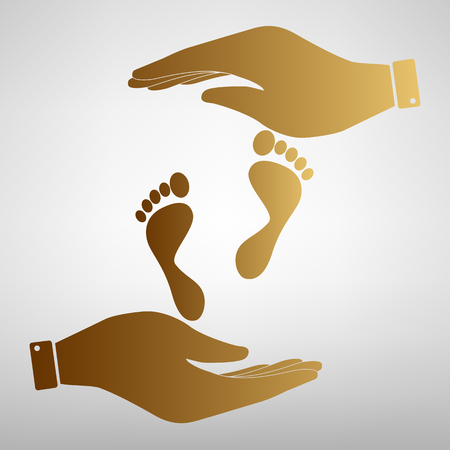commit: Foot prints sign. Flat style icon vector illustration.