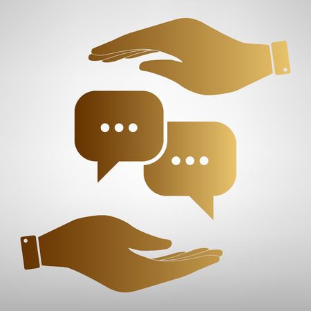 html5: Speech bubbles sign. Save or protect symbol by hands. Golden Effect. Illustration