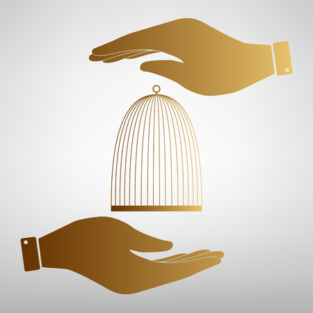 Bird cage sign. Save or protect symbol by hands. Golden Effect.