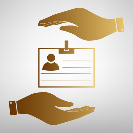 recognizing: Id card sign. Save or protect symbol by hands. Golden Effect.