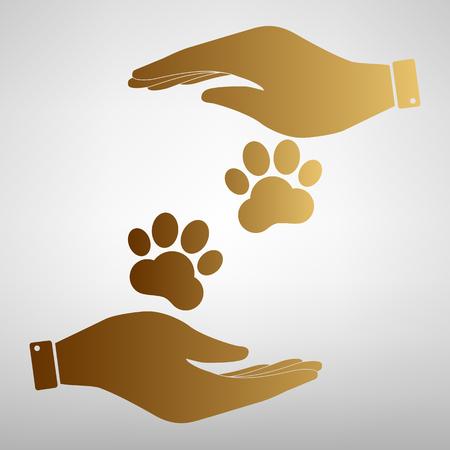 huellas de animales: Pistas animales firman. Icono de la ilustraci�n vectorial de estilo plano.