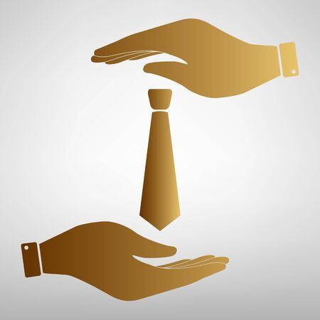 dresscode: Tie sign. Save or protect symbol by hands. Golden Effect.