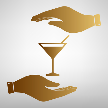 coctail: Coctail sign. Save or protect symbol by hands. Golden Effect. Illustration