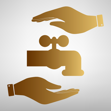 spew: Water faucet sign. Save or protect symbol by hands. Golden Effect. Illustration