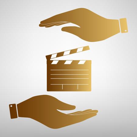 flick: Film clap board cinema sign. Flat style icon vector illustration.
