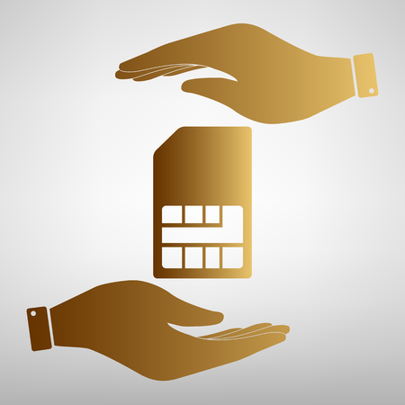 sim card: Sim card sign. Flat style icon vector illustration. Illustration