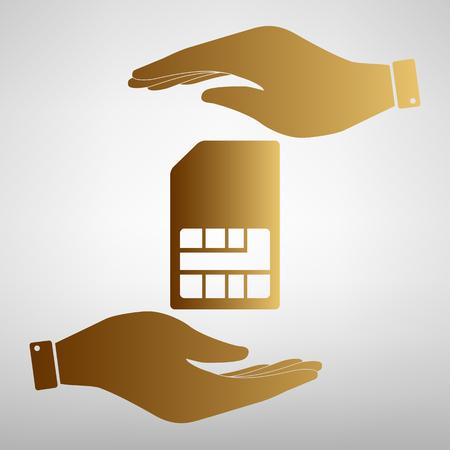 Sim card sign. Flat style icon vector illustration. Illustration
