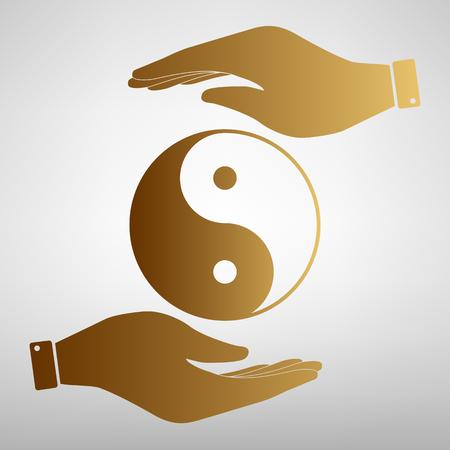 Ying yang symbol of harmony and balance. Flat style icon. Black vector illustration.  イラスト・ベクター素材