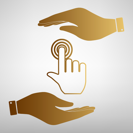 depress: Hand click on button. Flat style icon vector illustration.