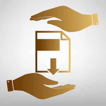 e reading: File download sign. Flat style icon vector illustration.