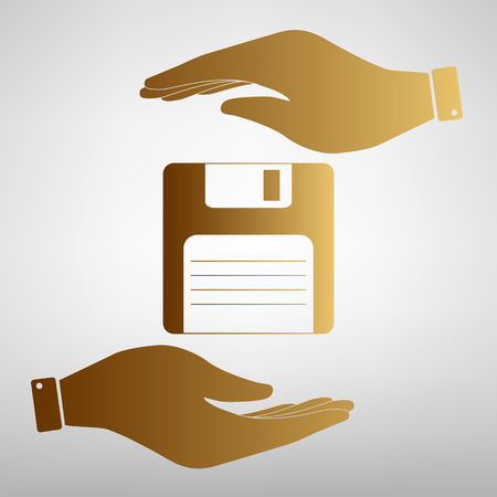 old pc: Floppy disk sign. Save or protect symbol by hands. Golden Effect. Illustration