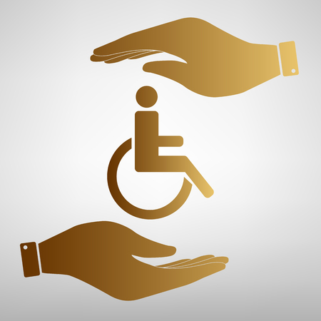one man only: Disabled sign. Save or protect symbol by hands. Golden Effect.