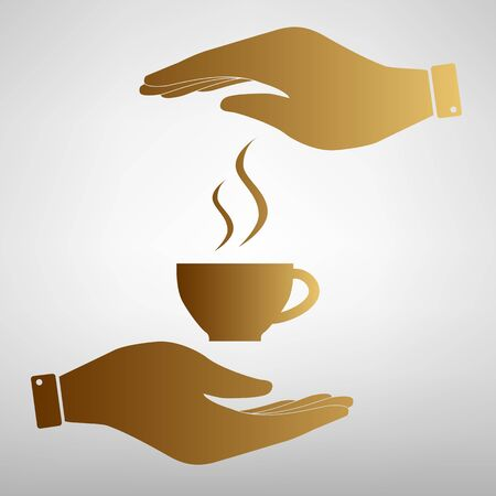 steel bar: Cup of coffee sign. Save or protect symbol by hands. Golden Effect.