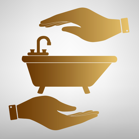 bathtub: Bathtub sign. Save or protect symbol by hands. Golden Effect. Illustration