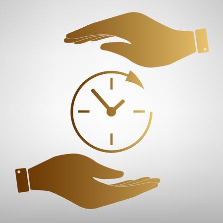Assistenza e supporto per i clienti in tutto il giorno e 24 ore. Salvare o proteggere simbolo dalle mani. Effetto d'oro. Archivio Fotografico - 54069732