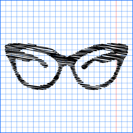protective eyewear: Vector illustration of stylish sunglasses with pen effect on paper.