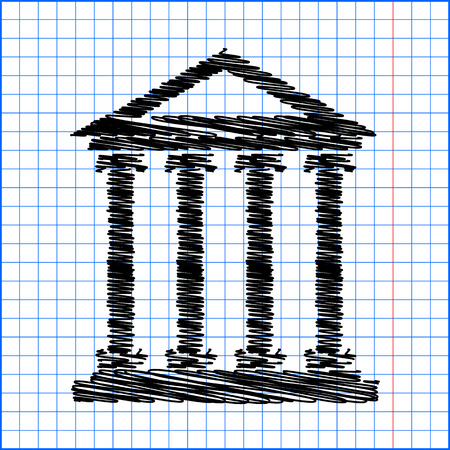 historical building: Historical building icon, vector illustration. Flat design style with pen effect on paper. Illustration