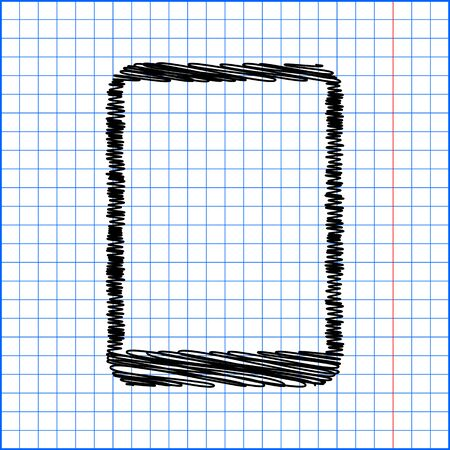 touch sensitive: Vector computer tablet with pen effect on paper.