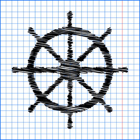 mariner: Ship wheel. Vector illustration with pen effect on paper.