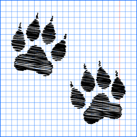 animal finger: Animal Tracks. Vector illustration with pen effect on paper.