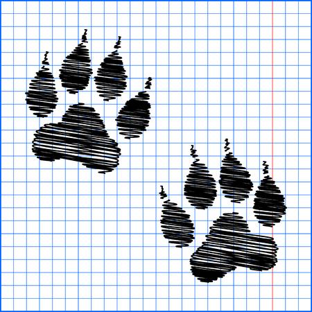 animal tracks: Huellas de animales. Ilustración del vector con efecto de lápiz sobre papel.