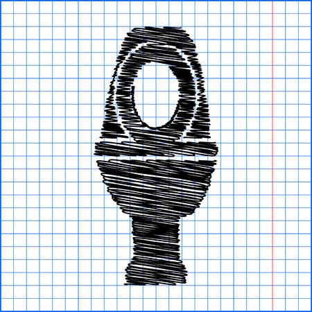 flush toilet: Toilet Icon with pen effect on paper. Illustration