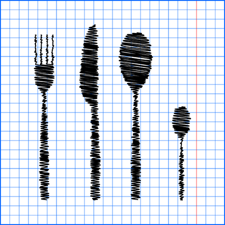 fork and spoon: fork spoon knife with pen effect on paper.